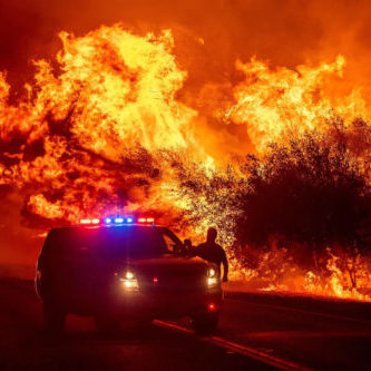 California wildfires and the fire fighters viewing a fire
